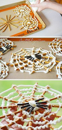 These pretzel spiderwebs are such a CUTE Halloween treat idea! They're really easy to make and look so festive when you're done! They're a great snack for a Halloween party and a super fun activity to try with the kids this Halloween!