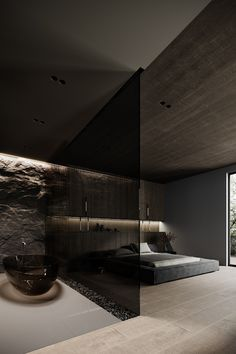 What do you think of this dark themed bedroom interior? Via: Design by Anastasiia Reznichenko Dream House Interior, Luxury Homes Dream Houses, Dream Home Design, Modern House Design, Loft Design, Mansion Designs, Black Interior Design, Dark Interiors, Forest House