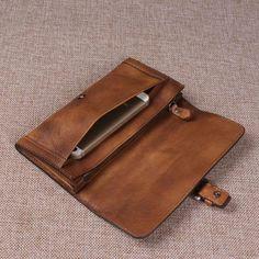 Vintage Retro Look Genuine Leather Wallet, Long Wallet For Men 9059 - ROCKCOWLEATHERSTUDIO