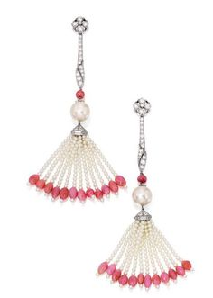 Tiffany cultured pearl, conch shell and diamond earrings.