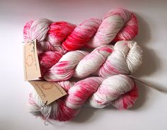 Queen Bee HandDyed Yarn in Candy Cane Lane  by HoneycombYarns