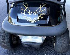 Golf cart decals can quickly customize your cart to one of a kind. #golfcartdecals Custom Golf Cart Bodies, Custom Golf Carts, Golf Cart Seat Covers, Golf Cart Seats, Golf Cart Body Kits, Electric Golf Cart, Golf Cart Accessories, Transportation Technology, Golf Cart Batteries