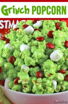 This Grinch Popcorn Recipe is one of our most popular Christmas Treats. You can't go wrong with a Christmas Treat that has been pinned almost times. Sweet, salty and delicious this Grinchy popcorn recipe is super delicious and super easy to make! Christmas Popcorn, Christmas Party Food, Christmas Cooking, Christmas Goodies, Grinch Christmas, Christmas Carol, Holiday Baking, Christmas Desserts, Christmas Treats