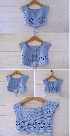 Crochet A Little Heart Ballet Cardigan - Crafting Time - Diy Crafts Crochet Toddler, Crochet Girls, Crochet Baby Clothes, Crochet For Kids, Crochet Yoke, Crochet Cardigan, Easy Crochet, Crochet Designs, Crochet Patterns