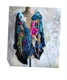 Unique Art To Wear Hippie Velvet Jacket PEACE SIGNS Flowers White/Red Parrot Tulip Silk Roses Velvet Roses Gipsy Boho Tatterd Fairy