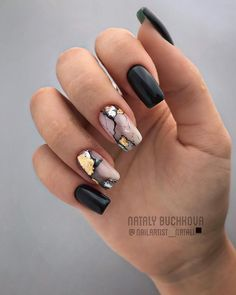 Marble nails are a kind of nail art design which imitates the appearance of marble. Everyone can create this nail style on their own nails, or specialize it to achieve better results. Marble nails have become more and more popular in recent years, an Marble Nail Designs, Black Nail Designs, Acrylic Nail Designs, Nail Art Designs, Nails Design, Square Nail Designs, Shellac Nail Designs, Popular Nail Designs, Matte Black Nails