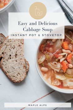 Simple Cabbage Soup (Instant Pot   Stovetop Instructions) | www.maplealps.com Fast Metabolism Diet, Metabolic Diet, Easy Cabbage Soup, Diet Recipes, Vegetarian Recipes, Kinds Of Soup, Fodmap Diet, Vegan Dinners, Pressure Cooking
