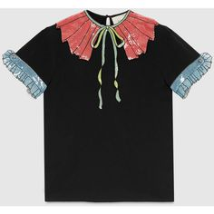 Gucci Trompe L'Oeil Sequin T-Shirt (1,060 CAD) ❤ liked on Polyvore featuring tops, t-shirts, collections, tops & shirts, women's fall & cruise looks, striped t shirt, embroidered t shirts, gucci shirts, sequin t shirt and embroidered shirts