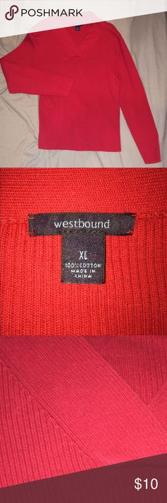 Red Vneck Sweater. Size XL. 100% Cotton. EUC Photo 2 shows true color the best. Very nice sweater. i have only worn this a handful of times. Excellent used condition ladies❣️❤️❣️ Westbound Sweaters