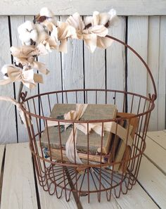 Farmhouse Chicken Egg Basket Fresh Cotton Stem Muslin Wrapped Handle Rustic Wedding Kitchen and Table Decor Bread Cover by picadillymarket by picadillymarket on Etsy Wire Basket Decor, Wire Egg Basket, Basket Decoration, Wire Baskets, Table Decorations, Tall Basket, Basket Lighting, Country Farmhouse Decor, Vintage Farmhouse