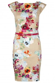 Cream Floral Capped Sleeve Shift Dress  | Lavish Alice