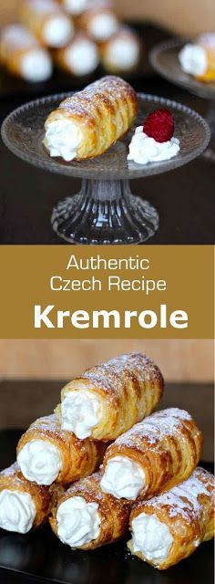 Kremrole is a deliciously crispy roll-shaped puff pastry that is filled with meringue or whipped cream that is popular in the Czech Republic, Austria, Germany and Slovakia. This website has a number of other good recipes too. Czech Desserts, Just Desserts, Delicious Desserts, Yummy Food, Slovak Recipes, Czech Recipes, Austrian Recipes, Puff Pastry Recipes, Cookie Recipes