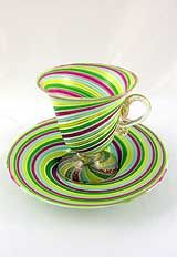 Murano Glass Lime w' Swirling Green+Red Stripes Tea Cup & Saucer<3<3<3
