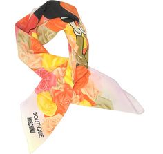 MOSCHINO Boutique Moschino Pink and Multicolor Olive Oyl Cartoon & Roses Printed Crepe Silk Square Scarf. #moschino #