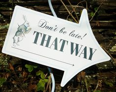 Alice in Wonderland DiY party signs personalized