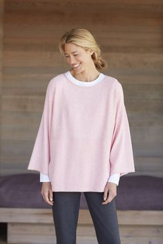 Pure Jill kimono-sleeve sweater (in pearl pink heather).