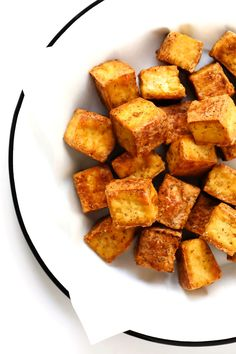 This Baked Tofu recipe is my favorite way to make tofu! It's ultra-easy, totally customizable with your favorite seasonings, and surprisingly crispy and delicious Tofu Recipes, Vegetable Recipes, Vegetarian Recipes, Cooking Recipes, Healthy Recipes, Bean Recipes, Veggie Dishes, Healthy Eats, Cooking Tips