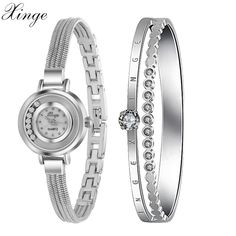 Xinge Famous Brand 2016 New Fashion Silver Luxury Jewelry Bracelet Watch Set Women Dress Clock Female Quartz Wristwatch XG4-46