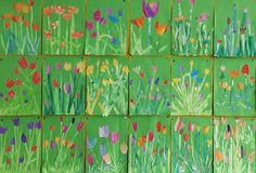 Tulips with watercolor as collage on green background Class 1 art class Kindergarten Architecture, Collage, Spring Art, Woodland Party, Green Backgrounds, Science And Nature, Art Education, Art School, Art Lessons