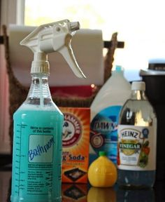 -1 Professional Spray Bottle (it is worth the extra $1, trust me!)  -8 oz. Distilled White Vinegar  -4 oz. Lemon Juice  -2 oz. Liquid Soap (I use Dawn)  -2 tsp. Baking Soda  -10 oz water