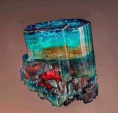 Multi-colors Tourmaline   #Geology #GeologyPage #Mineral Locality: Conselheiro Pena Doce valley Minas Gerais Brazil. Geology Page www.geologypage.com