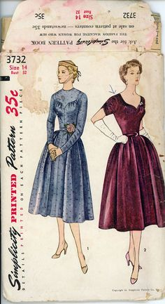1950s Dress Pattern Bust 32 Simplicity 3732 Full by CynicalGirl