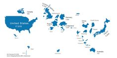 Map countries scaled to size of stock market - Business Insider