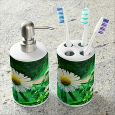 Asters Green Glow Soap Dispenser/Toothbrush holder