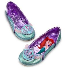 Disney Store Ariel The Little Mermaid Glitter Shoes/Slippers/Flats for Girls Size 9/10