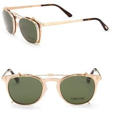 Tom Ford Eyewear 48MM Round Sun-Clip Optical Glasses ($1,950) ❤ liked on Polyvore featuring men's fashion, men's accessories, men's eyewear, men's eyeglasses, tom ford mens eyeglasses, mens eyeglasses, mens eyewear and mens round eyeglasses
