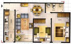 plantas de casas com 2 quartos com cozinha americana13