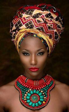 Black Queen - Ankara Headwrap & beaded necklace.