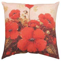 Manual Garden Red Poppies Decorative Pillow - SLGRPP
