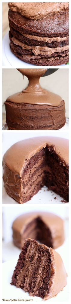 Decadent  Chocolate Cake with Chocolate Mousse Filling ~ My favorite chocolate cake recipe with dark choc mousse fillling and warm frosting poured on top! Recipe from https://TastesBetterFromScratch.com