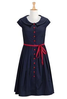 Navy Blue Cotton Poplin Dresses, Contrast Trim Shirtdresses Womens fashion clothing | Women's stylish dress | Evening dresses, cocktail dres...