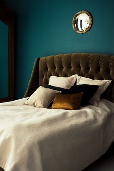 Velvet bed MaxFliz. Bed cover and pillows ZARA HOME. Mirror from London flea market.  Bedroom interior. Home design.