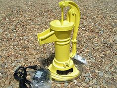 GARDEN Cast Iron Water Well Hand Pump COMPLETE FOUNTAIN set YELLOW | eBay