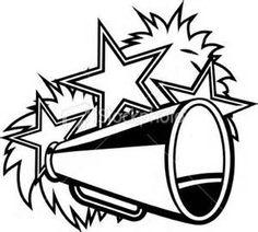 Cheerleader pompoms and megaphone black white royalty-free stock vector art Cheer Camp, Cheer Coaches, Cheer Clipart, Cheerleader Clipart, Cheer Locker Decorations, Cheer Posters, Cheer Megaphone, Football Cheerleaders, Football Ads