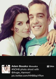 Angie Harmon with Adam Bouska, one of the two creators of and photographers for the NOH8 campaign.