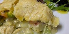 cheddar chicken pot pie {also includes recipe for garlic honey mustard vinaigrette dressing for the greens} Weed Recipes, Marijuana Recipes, Cannabis, Vegan Energy Balls, Salad Topping, Frozen Peas, Poultry, Recipe Chicken, Lemon Chicken
