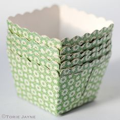 Square baking cups are a lovely alternative to the usual baking cupcake cases, you can use them just like regular cupcake cases or due to their sturdy nature they are great used as little display bowl Cupcake Cases, Cupcake Liners, Baking Cups, Baking Cupcakes, Objects, Colours, Floral, Party, Green