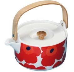 Perfect for adding a little cheer to your morning, this colourful teapot by Marimekko features a modern floral print, as well as a natural wood Tea Strainer, Tea Sandwiches, Flower Tea, Marimekko, Hearth, Natural Wood, Tea Time, Tea Party, Stoneware