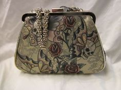 New Ed Hardy Purse Handbag Hand Bag w Satin Protective Bag Green Skulls Rose   ebd7e571748fc