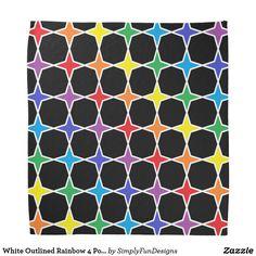 White Outlined Rainbow 4 Point Stars Bandana