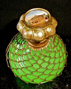 Antique Opaline glass Green Perfume bottle with Grand Tour Painting Reverse top