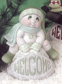 on Welcome Rock Base. Christmas Crafts For Gifts, Christmas Traditions, Craft Gifts, Christmas Decorations, Snowman Tree, Christmas Snowman, Christmas Ornaments, Snowmen, Tole Painting