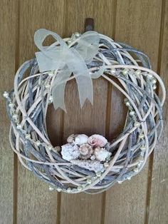 Bleached Grapevine Shell Wreath Light Wreath by CherryPointDesigns