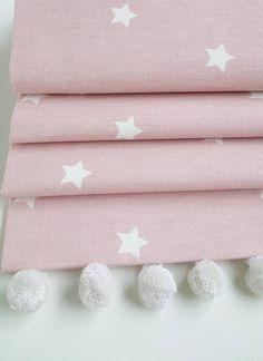 Pink Stars Roman Blind With Pom Pom Trim