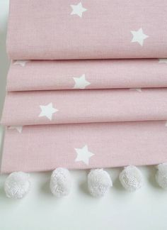Pink Stars Roman Blind With Pom Pom Trim
