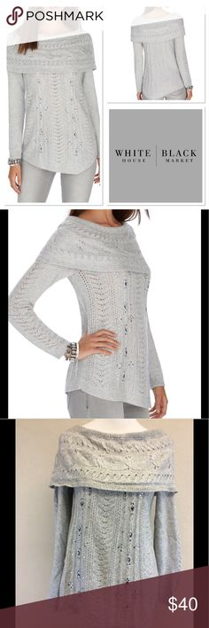 """M WHBM slouchy neck jeweled sweater Brand: White House black-market Style: slouchy neck jeweled sweater Size: medium Approximate Measurements: Pit to pit 16.5"""" shoulder to hem 26""""  Material: 54% nylon 28% wool 18% acrylic Features: slouchy neck, can be worn slightly off-shoulder, lightweight knit, jeweled * Boxy stretch fit.  * Over the shoulder neckline folds down.  * Long sleeves.  * Crystal embellishments throughout the front and neckline.  * Asymmetrical hemline.  Condition: excellent…"""